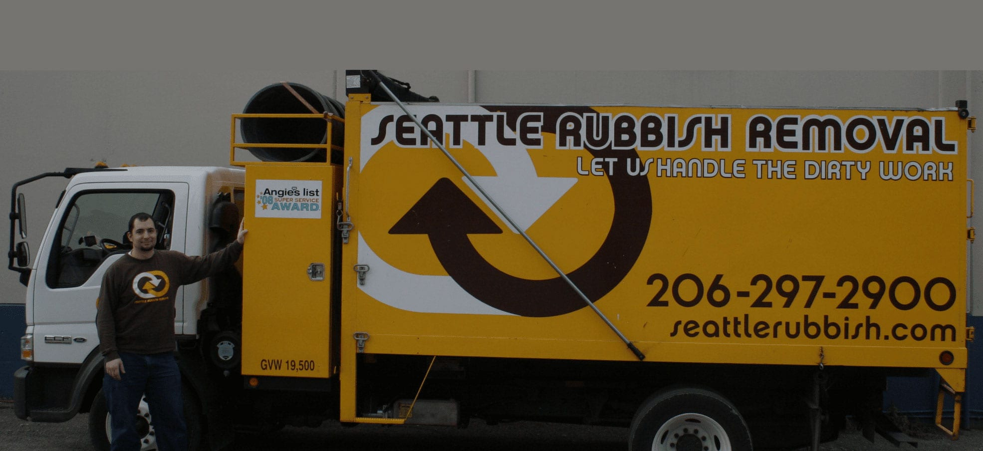 Seattle rubbish removal banner truck